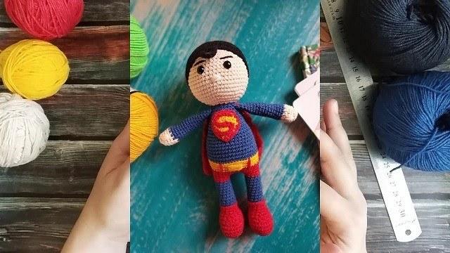Кукла Супермен крючком