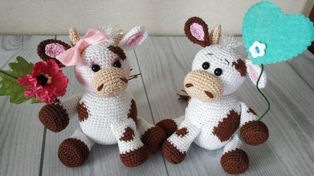 Вязаные игрушки бык и корова крючком