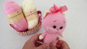 Мастер-класс розовый котенок крючком