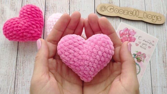 Плюшевое сердечко крючком