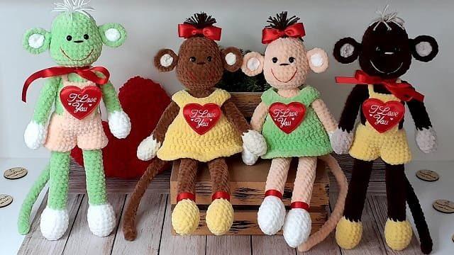 Влюбленные обезьянки амигуруми